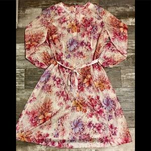 Vintage Three R's Floral Keyhole Belted Dress